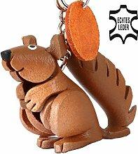 Monkimau Eichhörnchen Leder Schlüssel-Anhänger