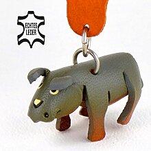 Monkimau Nashorn Leder Schlüsselanhänger Figur 5cm klein in grau 1 Stück im Zoo wilde Rhino Familie Geschenkidee