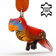 Monkimau Papagei Leder Schlüsselanhänger Figur