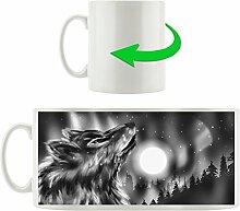 Monocrome, Abstrakter Wolf mit Mond, Motivtasse