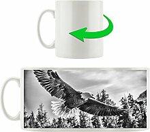 Monocrome, Adler, Motivtasse aus weißem Keramik
