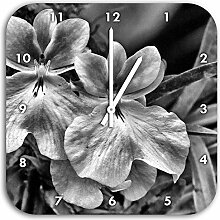 Monocrome, außergewöhnliche Blüte, Wanduhr