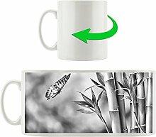Monocrome, Bambus mit Schmetterling, Motivtasse