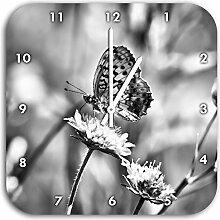 Monocrome, Bezaubernder Schmetterling, Wanduhr Durchmesser 28cm mit weißen spitzen Zeigern und Ziffernblatt, Dekoartikel, Designuhr, Aluverbund sehr schön für Wohnzimmer, Kinderzimmer, Arbeitszimmer