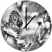 Monocrome, Bezaubernder Schmetterling, Wanduhr