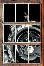 Monocrome, Dark Brennender Harley Reifen Fenster