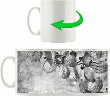 Monocrome, Durchsichtige Lila Blätter, Motivtasse aus weißem Keramik 300ml, Tolle Geschenkidee zu jedem Anlass. Ihr neuer Lieblingsbecher für Kaffe, Tee und Heißgetränke
