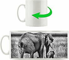 Monocrome, Elefantenweibchen mit Jungtier,