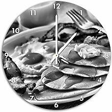 Monocrome, Frühstück, Wanduhr Durchmesser 48cm mit weißen spitzen Zeigern und Ziffernblatt, Dekoartikel, Designuhr, Aluverbund sehr schön für Wohnzimmer, Kinderzimmer, Arbeitszimmer