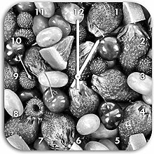 Monocrome, Fruits Apple Cherry Strawberry, Wanduhr