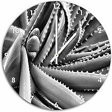 Monocrome, Grüne Pflanze mit Wassertropfen, Wanduhr Durchmesser 48cm mit weißen spitzen Zeigern und Ziffernblatt, Dekoartikel, Designuhr, Aluverbund sehr schön für Wohnzimmer, Kinderzimmer, Arbeitszimmer