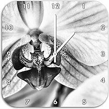 Monocrome, Prächtige Rosa Orchidee, Wanduhr Durchmesser 48cm mit weißen spitzen Zeigern und Ziffernblatt, Dekoartikel, Designuhr, Aluverbund sehr schön für Wohnzimmer, Kinderzimmer, Arbeitszimmer