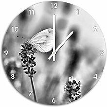 Monocrome, Schmetterling auf Lavendel, Wanduhr