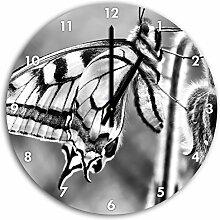 Monocrome, Schmetterling Schwalbenschwanz, Wanduhr