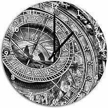 Monocrome, Sonnenuhr, Wanduhr Durchmesser 48cm mit schwarzen spitzen Zeigern und Ziffernblatt, Dekoartikel, Designuhr, Aluverbund sehr schön für Wohnzimmer, Kinderzimmer, Arbeitszimmer
