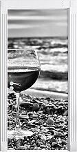 Monocrome, Weinglas am Steinstrand als Türtapete, Format: 200x90cm, Türbild, Türaufkleber, Tür Deko, Türsticker