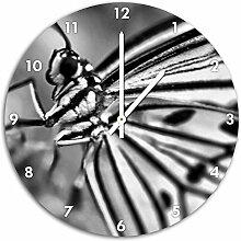 Monocrome, Wunderschöner Schmetterling, Wanduhr