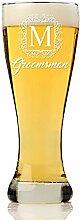 Monogramm Rahmen Groomsman Pub Pilsner Bierglas
