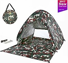 MONOJOY Strandmuscheln Wurfzelte Sonnenschutz Pop Up Zelte UPF 50+ Für Outdoor Camping Leicht Strand Angeln Picknick Kinder Baby … (Tarnung mit tür)