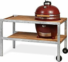 MONOLITH Grill Classic Red mit Teakholz-Tisch