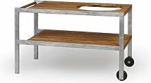 Monolith Grill - Tisch aus Teak mit Metallrahmen