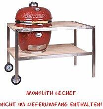 Monolith LeChef - Tisch aus Edelstahl mit Teakholz