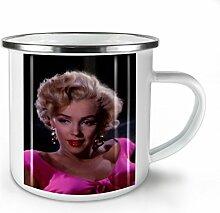Monroe Foto Berühmtheit Weiß Emaille-Becher 10 oz | Wellcoda