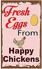 Monsety Blechschild mit Spruch Fresh Eggs from