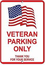 Monsety Blechschild mit Spruch Veteran Parking