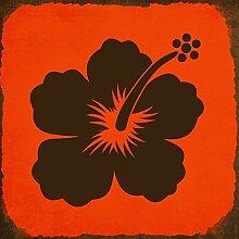 Monsety Blechschild mit Sprüchen Hibiskus Blume