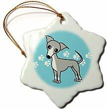 Monsety Weihnachts-Deko-Baum, Dekoration für die italienische Windhunde grau mit Schneeflocke, Weihnachten Dekoration, Porzellan,