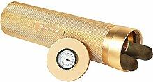 Monsiter Tragbarer Zigarrenröhrchen Humidor mit Luftbefeuchter Tragbarer Reisetasche für 3-5 Zigarren-Gold