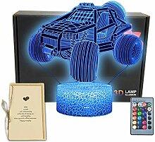Monster-Truck-3D-Illusion-Schreibtischlampe, Auto,