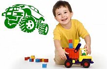 Monster Truck Wand Aufkleber Kinder, Grün, Large: