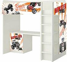 Monster Trucks Möbelfolie - SH19 - passend für die Kinderzimmer Hochbett-Kombination STUVA von IKEA - Bestehend aus Hochbett, Kommode (3 Fächer), Kleiderschrank und Schreibtisch