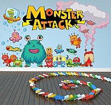 Monster Wandaufkleber Szene Monsterangriff Wandtattoo Kinder Schlafzimmer Haus Dekor Erhältlich in 8 Größen Riesig Digital