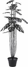 Monstera-Pflanze aus schwarzem Metall, H152cm