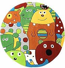 Monsters HEVO® Handtuft Teppich | Kinderteppich | Spielteppich 140 cm Ø Rund Textiles Vertrauen Oeko Tex 100