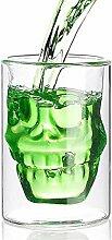 Monsterzeug Trinkglas Totenkopf, Glas doppelwandig