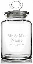 Montana Aufbewahrungsglas als Geschenk zur Hochzeit Mr.&Mrs. mit persönlicher Gravur