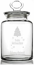 Montana Keksdose aus Glas mit Weihnachtsbaum u. Gratisgravur Ihres Wunschtextes