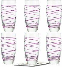 Montana LD Becher :swirl 6/Set farbig fuchsia inkl. 6 Dekokaufhaus Untersetzer, Longdrinkbecher Saftglas Wasserglas