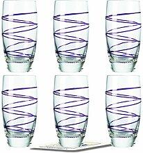 Montana LD Becher :swirl 6/Set farbig lila inkl. 6 Dekokaufhaus Untersetzer, Longdrinkbecher Saftglas Wasserglas