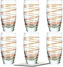 Montana LD Becher :swirl 6/Set farbig orange inkl. 6 Dekokaufhaus Untersetzer, Longdrinkbecher Saftglas Wasserglas