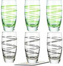 Montana LD Becher :swirl 6/Set farbig sortiert inkl. 6 Dekokaufhaus Untersetzer, Longdrinkbecherbecher, Schwarz Grün