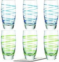 Montana LD Becher :swirl 6/Set farbig sortiert inkl. 6 Dekokaufhaus Untersetzer, Longdrinkbecherbecher, Blau Grün