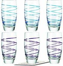 Montana LD Becher :swirl 6/Set farbig sortiert inkl. 6 Dekokaufhaus Untersetzer, Longdrinkbecherbecher, Lila Blau