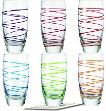 Montana LD Becher :swirl 6/Set farbig sortiert inkl. 6 Dekokaufhaus Untersetzer, Longdrinkbecher Saftglas Wasserglas