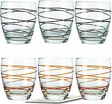 Montana WH Becher :swirl 6/Set farbig sortiert inkl. 6 Dekokaufhaus Untersetzer, Whiskybecher, Orange Schwarz