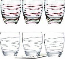 Montana WH Becher :swirl 6/Set farbig sortiert inkl. 6 Dekokaufhaus Untersetzer, Whiskybecher, Weiß Ro